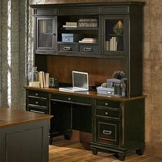 Hartford Credenza with Hutch in Black and Oak | Nebraska Furniture Mart