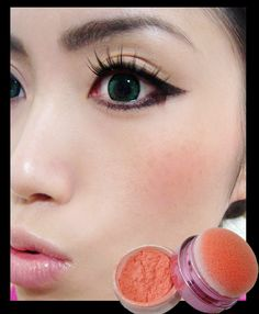 If you like that sweet babydoll cheeks spotted in Japanese magazines, try duping it with Lioele Blooming Cushion Touch Blusher in Cutie Peach. Cute Eye Makeup, Simple Eye Makeup, Kiss Makeup, Smokey Eye Makeup, Beauty Makeup, Makeup Eyes, Coral Blush, Peach Blush, Peach Makeup