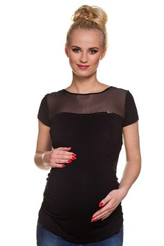 Černá těhotenská halenka s průsvitnou vrchní částí Tops, Women, Fashion, Moda, Fashion Styles, Fashion Illustrations, Woman
