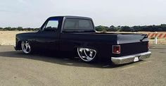 Hot Wheels - One bad ass squarebody here igers looking good sitting on the ground, tag the owner igers! #chevrolet #gmc #c10 #airsuspension #bagged #raked #stance #layframe #streetrod #streettruck #carporn #chopped #streetmachine #truckporn #lowfastfamous