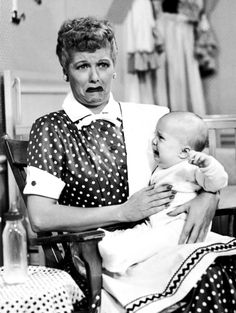 I Love Lucy crying with the baby