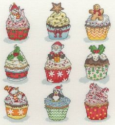 Christmas Cup Cakes Cross Stitch Kit £26.25 | Past Impressions | Bothy Threads