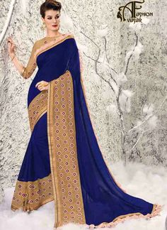 saree online – Chiffon Net Blue  party wear sarees online india