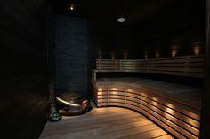 tumma tunnelmallinen sauna Home Deco, New Homes, Relax, Bathroom, Places, Washroom, Full Bath, Home_decor, Bath