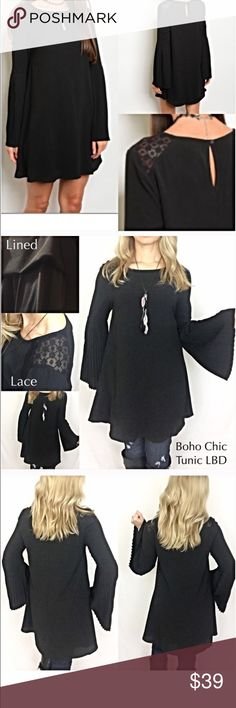 """Bell Sleeve Lace Tunic Dress LBD SM Love the flattering fit & style of this boho chic tunic shift dress. Features include pleated bell sleeves, scoop neck with keyhole back button closure & lace paneled shoulders & lining. So feminine & sexy. Can be worn alone or with tights, leggings or jeggings. 95% Polyester/5% Spandex (Lining 100% Polyester) SM Sleek Little Black Dress  ❤️️Small Bust 32-34 Length 34"""" ❤️️Medium Bust 36-38 Length 34.5"""" Dresses"""