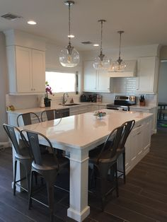 -White Shaker Waypoint Cabinets Designed by: Nathan Hoffman Wonder if we could do this? White Shaker Waypoint Cabinets Designed by: Nathan Hoffman Wonder if we could do this? Modern Kitchen Island, Kitchen Redo, Kitchen Ideas, Kitchen Island Dining Table, Kitchen Island With Seating For 6, Eat In Island Kitchen, Floors Kitchen, Kitchen Island Shapes, Long Kitchen Islands