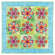 GO! Fantasy Flowers Quilt Pattern by Robbi Joy Eklow #accuquilt #applique #quilt