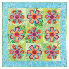 GO! Fantasy Flowers Quilt Pattern by Robbi Joy Eklow #accuquilt #applique #quilt
