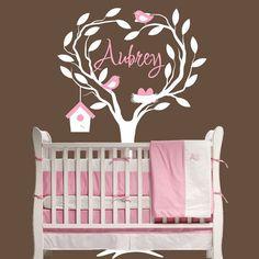 Baby Tree Wall Decal Nursery Bird Nest Personalized Decor Removable Vinyl Sticker OHSC $69.95 Etsy