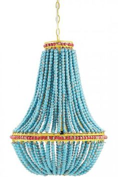 Oxley Blue Chandelier - Beaded Chandelier - Dining Room Chandelier - Dining…