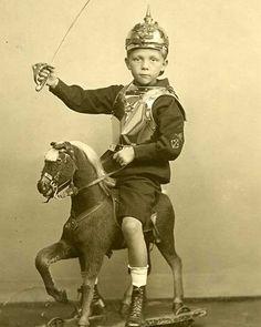 """WWI; """"A Child Playing War"""" - Ein kind spielt krieg. German photograph."""