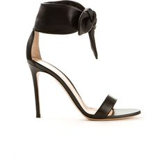 Black soft leather ankle ties fastening.  Heel height: 105mm.  Fits true to size.  Composition: 100% calf leather (bos taurus)