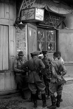 IRAN. Kazvin. Soviet soldiers outside the Soviet HQ established in the only hotel in town. 1941.