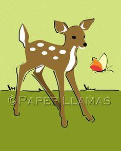 deer woodland forest fawn retro nursery by PaperLlamas on Etsy, $15.00