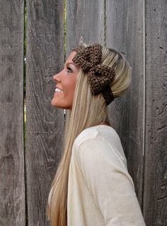 Barley Crochet Bow Headband w/ Natural Vegan Coconut by HillNTrees Knitting Accessories, Hair Accessories, Crochet Bows, Crochet Gifts, Cute Headbands, Winter Headbands, Tiaras, Pretty Hairstyles, Quick Hairstyles