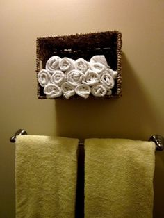 Basket hanging on the bathroom wall. by matilda