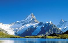 Download wallpapers 4k, Alps, lake, mountains, summer, hut, Europe