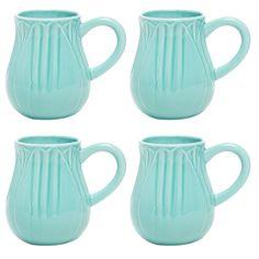 Tulip Mug in Teal (Set of 4) » Loving these!