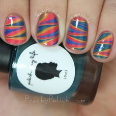 Polish My Life Fall Watermarble | Fall 2015 Autumn-matically In Love Collection | Peachy Polish