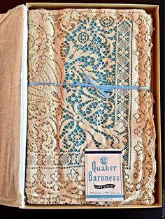 Купить Quaker , новая винтажная скатерть ( Квакер ) , США - бежевый, скатерть