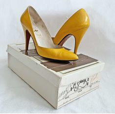 Excited to share this item from my shop: Vintage Pumps Europa 1000 Yellow Sky High Stiletto 5 B Shoes Pointy Toe Plunging Low Cut Sides With Box Mule Sandals, Shoes Sandals, Vintage 70s, Vintage Silver, Leather High Heels, Yellow Leather, Sky High, Me Too Shoes, Toe