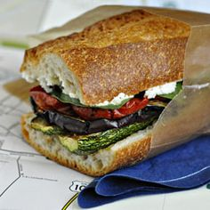 Melanzane: Grilled Eggplant & Zucchini Sandwich with Oven-Dried Tomatoes