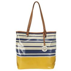 """Large shopper in bold stripes with double handle and magnetic snap closure.  Inside features a side zip pocket and two slip pockets.  Measures approx 13"""" H x 15"""" W x 5"""" D.  Handle drop of 10""""."""