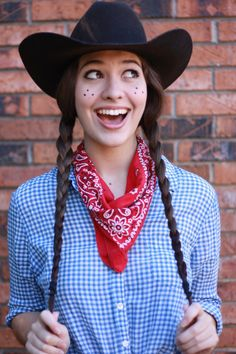 Halloween makeup and outfit..... Cowgirl very easy diy, you could do jessie from toy-story??