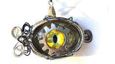 Steampunk Necklace Dragon Eye Green Yellow by SteampunkEarthstones