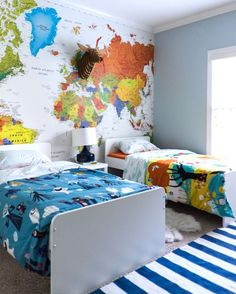 Amazing map mural in boys' bedroom- design addict mom