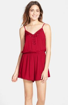 $42 Lush 'Cali' Lace Trim Romper (Juniors) available at #Nordstrom