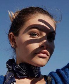 Thylane Blondeau model shadow blue dress hair up