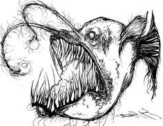 Free deep sea angler fish coloring pages Fish Drawings, Cute Drawings, Fish Coloring Page, Coloring Pages, Angler Fish Drawing, Ocean Tattoos, Turtle Tattoos, Tribal Tattoos, Mens Shoulder Tattoo