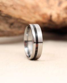 Titanium and Mun Ebony Wood Ring Titanium Ring by WedgewoodRings, $205.00