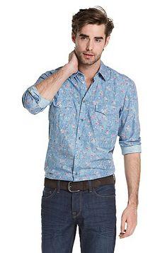 Hugo Boss Regular fit casual shirt 'EddaieE', Blue #floral #shirt #menswear #2014 #clothing #hugoboss