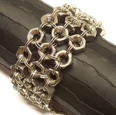 Cuff Bracelet Stainless Body Armor Knights Mail Repurposed Industrial Jewelry. $45.00, via Etsy.