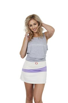 #RockYourAwesome in our Rock Your Awesome Tank! Super comfortable. Super cute. The perfect tank. Not to mention that super swanky Sue Skirt in Chalk and purple. 30Fifteen | Tennis | Fitness | Quote www.30Fifteen.co.uk