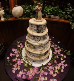 Our Wedding Cake!  Birch tree inspired and maple syrup flavored!