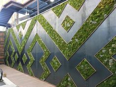 landscape architecture - Monique Capanelli, Living Wall at Whole Foods in the Domain, Austin Outdoor Wood Table, Outdoor Tables And Chairs, Landscape Walls, Landscape Design, Garden Design, Vertikal Garden, Vertical Garden Plants, Arbor Bench, Building A Pergola