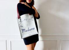 """Férue """"Madame"""" Gris chiné, anses Bordeaux"""