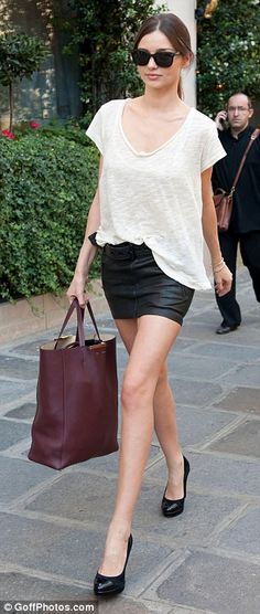 Black Leather Skirt and White Top.