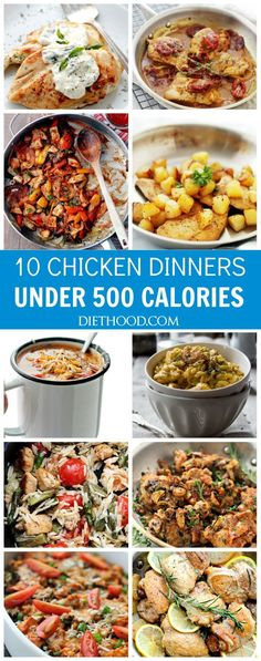 Ten Chicken Dinners Under 500 Calories   www.diethood.com   These delicious and satisfying Chicken Dinners are all under 500 calories! You don't have to give up on taste to stay on track with your healthy eating goals.