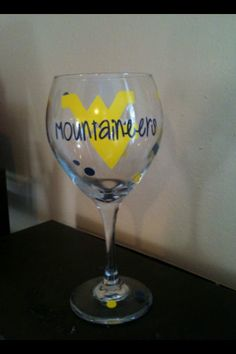 WVU Mountaineers Wine Glass by PinkieBoutique on Etsy, $8.00