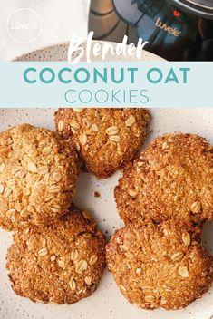 One bowl blender coconut oat cookies - Luvele AU Healthy Oat Cookies, Healthy Anzac Biscuits, Coconut Cookies, Gluten Free Cookies, Healthy Sweets, Healthy Baking, Sugar Free Oat Cookies, Sugar Free Biscuits, Healthy Baked Snacks