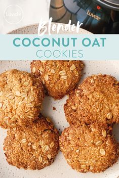 One bowl blender coconut oat cookies - Luvele AU Healthy Anzac Biscuits, Healthy Oat Cookies, Coconut Biscuits, Coconut Cookies, Gluten Free Cookies, Healthy Sweets, Healthy Breakfast Recipes, Sugar Free Oat Cookies, Sugar Free Biscuits
