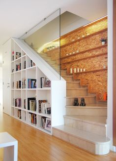 Modern Staircase – Home Decor İdeas Modern Home Stairs Design, Home Library Design, Interior Stairs, Loft Design, Design Case, Home Interior Design, Stair Design, Outside Stairs Design, Staircase Design Modern