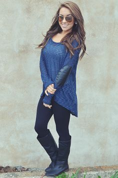 Navy Blue Leggings Outfit - Trendy Clothes