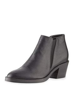 """Aquatalia weatherproof grained leather bootie. 2.3"""" stacked block heel. Almond toe. Gored side insets. Pull-on style. Rubber sole. """"Lillian"""" is made in Italy."""
