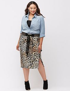 Our polished & professional pencil skirt steps into the season with an on-trend midi length and fierce animal print. Soft, substantial ponte knit hugs every curve, with a hidden zipper hem to show a little leg (if you dare). Back zipper with hook & eye closure. lanebryant.com