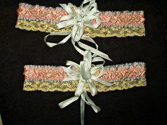 Vintage 1920's Flapper Garters Silk Satin Embellishment Pearls Lace Trim Unworn #nobrand